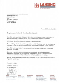 Lansing Metallbau GmbH-Co. KG - Empfehlungsschreiben Herr Han olde Agterhuis